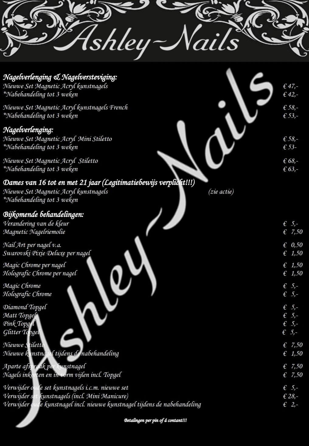 Prijslijst Ashley-Nails - nagelstudio Arnhem